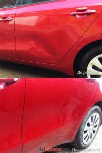 Вмятина на двери автомобиля как исправить